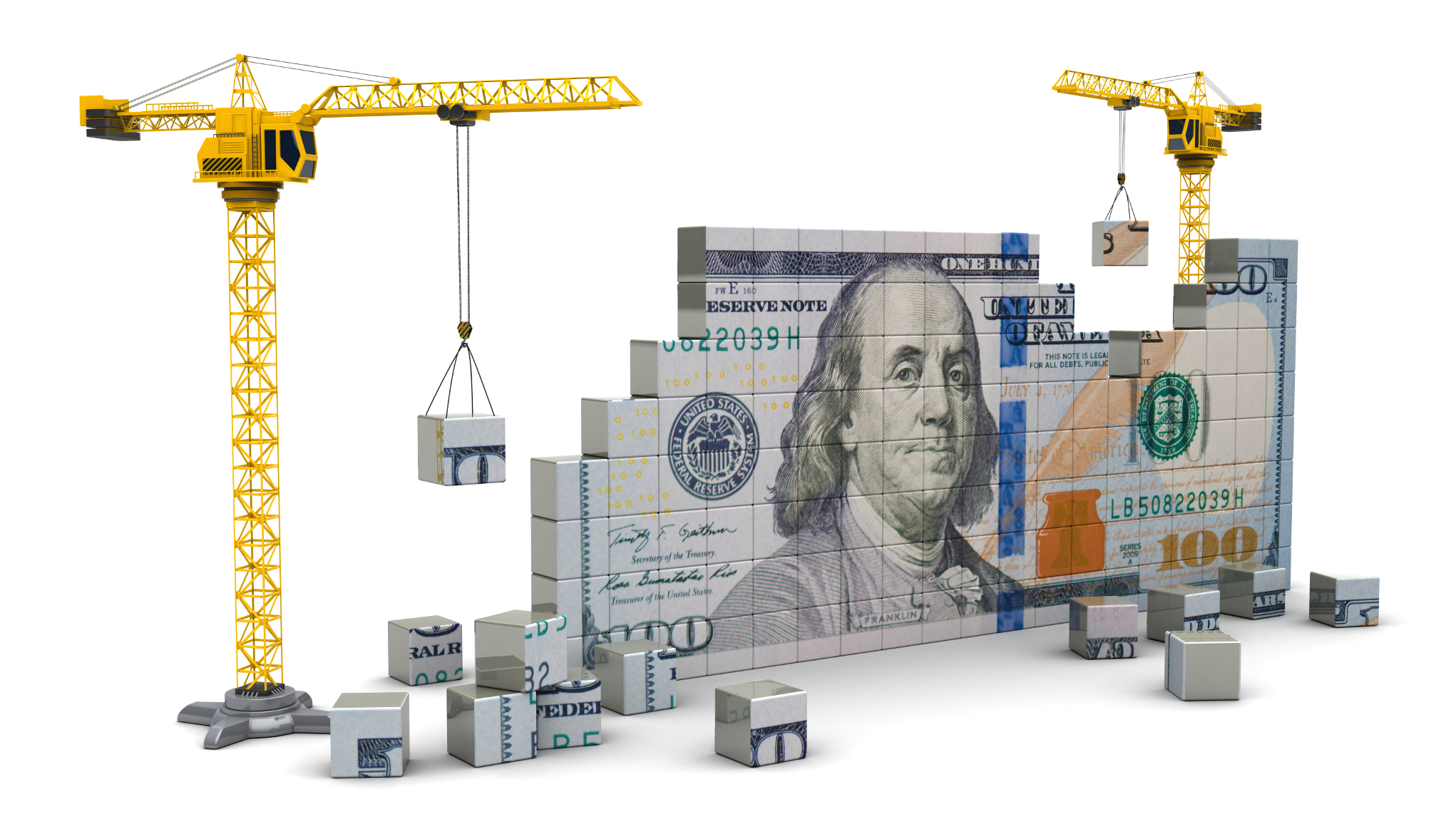 3d illustration of two cranes building 100 dollars